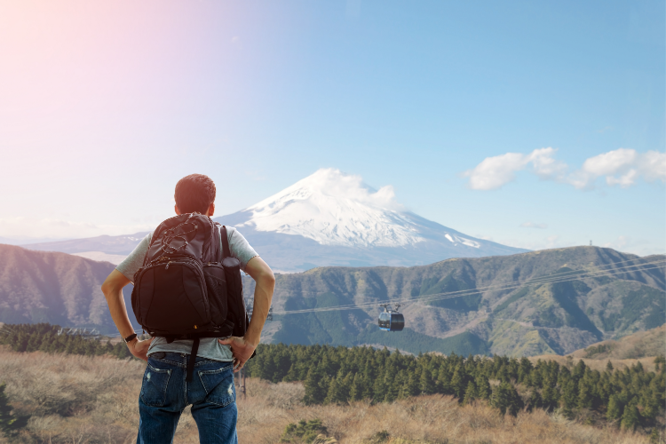 Backpacker at Mt. Fuji